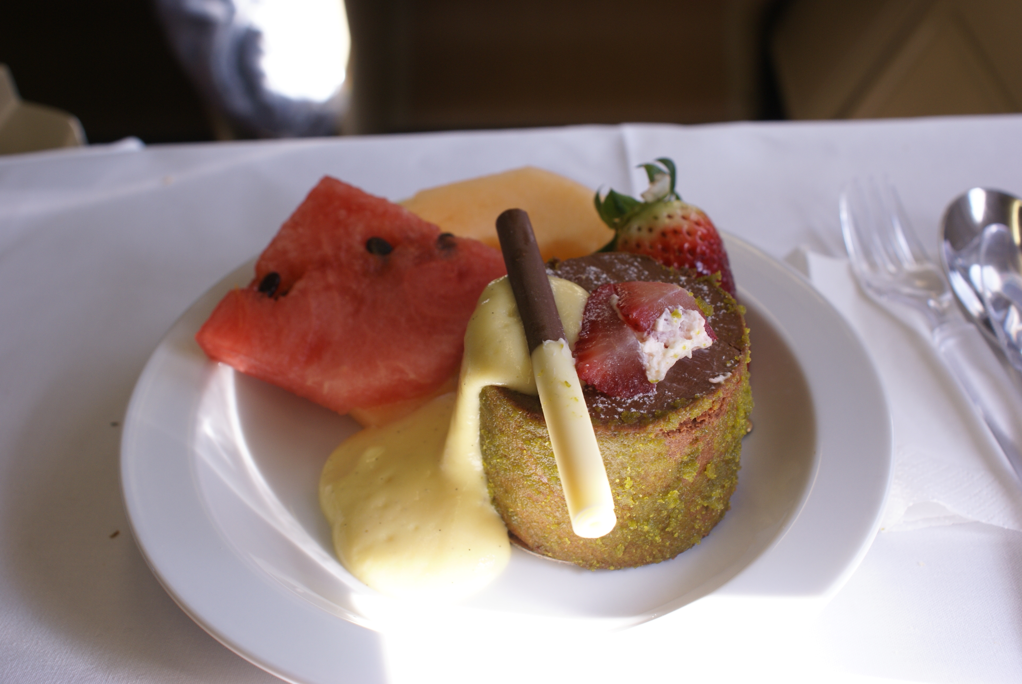 Business class flights: the desert from a three course meal