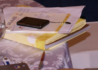 Conference documents and pen